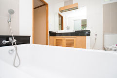 Modern bathroom with wooden cabinetry Stock Photography