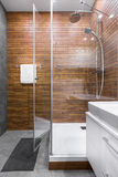 Modern bathroom with wooden wall idea Stock Photography