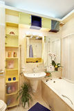 Modern Bathroom in yellow and blue colors. Modern Bathroom in yellow and blue vivid colors Royalty Free Stock Images