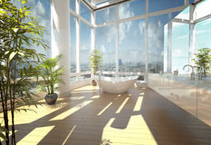 Modern bathtub against large windows. A 3d rendering of modern bathtub against large windows Royalty Free Stock Photography