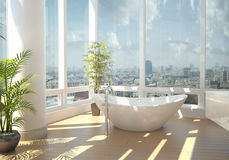 Modern bathtub against large windows Stock Photos