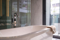 Modern bathtub in bathroom Stock Images