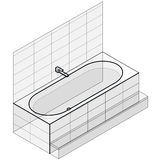 Modern bathtub filled with water. Outlined isometric vector bath tub. Stock Images