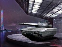 Modern battle tank on a pedestal night Stock Image