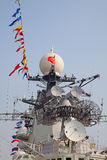 Modern battleship. Navigation equipment of the modern chinese battleship royalty free stock image