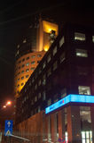 Modern bcr bank tower. Modern bcr bank branch on victoriei street in bucharest romania by night Royalty Free Stock Photography