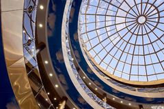 Modern architecture. Round glass roof. Blue color. Modern beautiful architecture. Round glass roof. Blue and gray color Royalty Free Stock Image