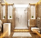 Modern beautiful mosaic bathroom design. Modern beautiful bathroom design. White and brown mosaic vector illustration