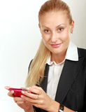 Modern beautiful business woman in the office Royalty Free Stock Photos