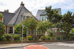 Modern beautiful houses on Haarlemmerstraat street in Zandvoort Royalty Free Stock Photos