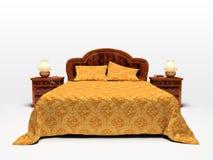 Modern bed dat op witte achtergrond wordt geïsoleerda Stock Fotografie
