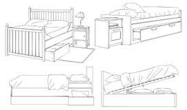 Modern Bed en Opslag Vectorlijn Art Illustration Royalty-vrije Stock Foto