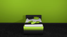 Modern bed in green-black. With pillow and blanket for decoration on black carpet floor in front of apple-green wall. 3d rendering royalty free illustration