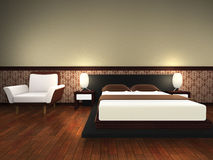 Modern bed room. 3d render Stock Images