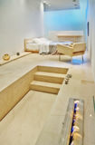 Modern bed room. Interior of marmer modern bed room Stock Images