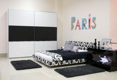 Modern bed-room. Modern black'n'white bedroom Stock Images