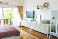 Modern bed room interior. On background Royalty Free Stock Images