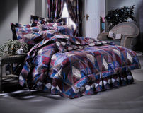 Modern Bed room set with bedding Royalty Free Stock Images