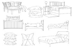 Modern Bed Sofa and Pillow Vector Line Art Illustration. For many purpose such as architecture and interior magazine, website, blog, coloring book, print on stock illustration