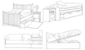 Modern Bed and Storage Vector Line Art Illustration. For many purpose such as architecture and interior magazine, website, blog, coloring book, print on canvas royalty free illustration