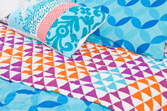 Modern bedding set with geometric shapes Stock Photography