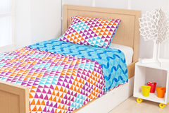 Modern bedding set with geometric shapes Royalty Free Stock Images