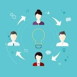 Modern Bedrijfsconcept, het idee van groepswerk en succes vlak Royalty-vrije Stock Foto