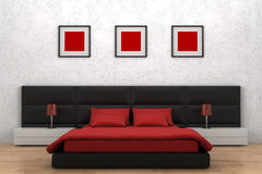 Modern bedroom. With white wall vector illustration