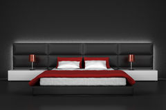 Modern bedroom. With black wall and floor vector illustration