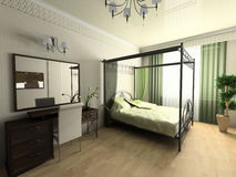 Modern bedroom. In green tones 3d image Royalty Free Stock Photo