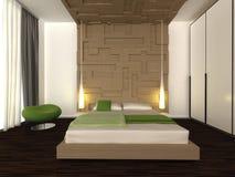 Modern bedroom. 3d generated interior scene of modern bedroom Stock Image