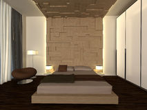 Modern bedroom. 3d generated interior scene of modern bedroom Royalty Free Stock Image