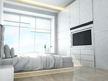 Modern bedroom. In minimalist style Royalty Free Stock Images
