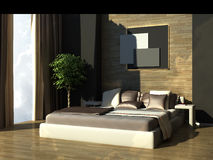 Modern bedroom. 3d generated interior scene of modern bedroom Stock Photos