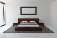 Modern bedroom. Interior of modern bedroom with frame Royalty Free Stock Photo