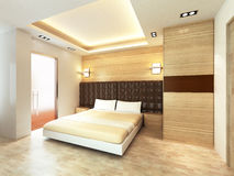 Modern bedroom. In minimalist style Stock Photography
