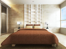 Modern bedroom. In minimalist style Royalty Free Stock Photography
