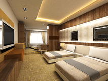 Modern bedroom. In minimalist style Royalty Free Stock Image