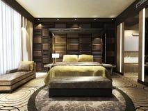 Modern bedroom. In minimalist style Stock Photos