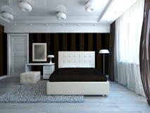 Modern bedroom. White and brown modern style bedroom interior stock illustration