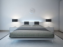 Modern bedroom with advanced lighting furniture Royalty Free Stock Photos