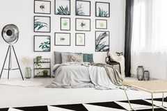 Modern bedroom with artwork Royalty Free Stock Photo