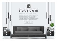 Modern bedroom background Interior design. Vector , illustration royalty free illustration