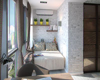 Modern bedroom balcony, 3d rendering Royalty Free Stock Image