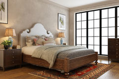 A Modern Bedroom. With bed and pillows royalty free illustration