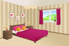 Modern bedroom beige pink bed yellow pillows lamps window illustration Royalty Free Stock Image