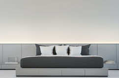 Modern bedroom with Black and white 3d rendering Image Royalty Free Stock Photo