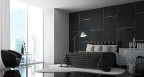 Modern Bedroom with Black and white 3d rendering Image Royalty Free Stock Image