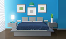 Modern Bedroom Blue Interior. With bed and house plant realistic vector illustration vector illustration