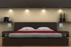 Modern bedroom with brown bed Stock Photography